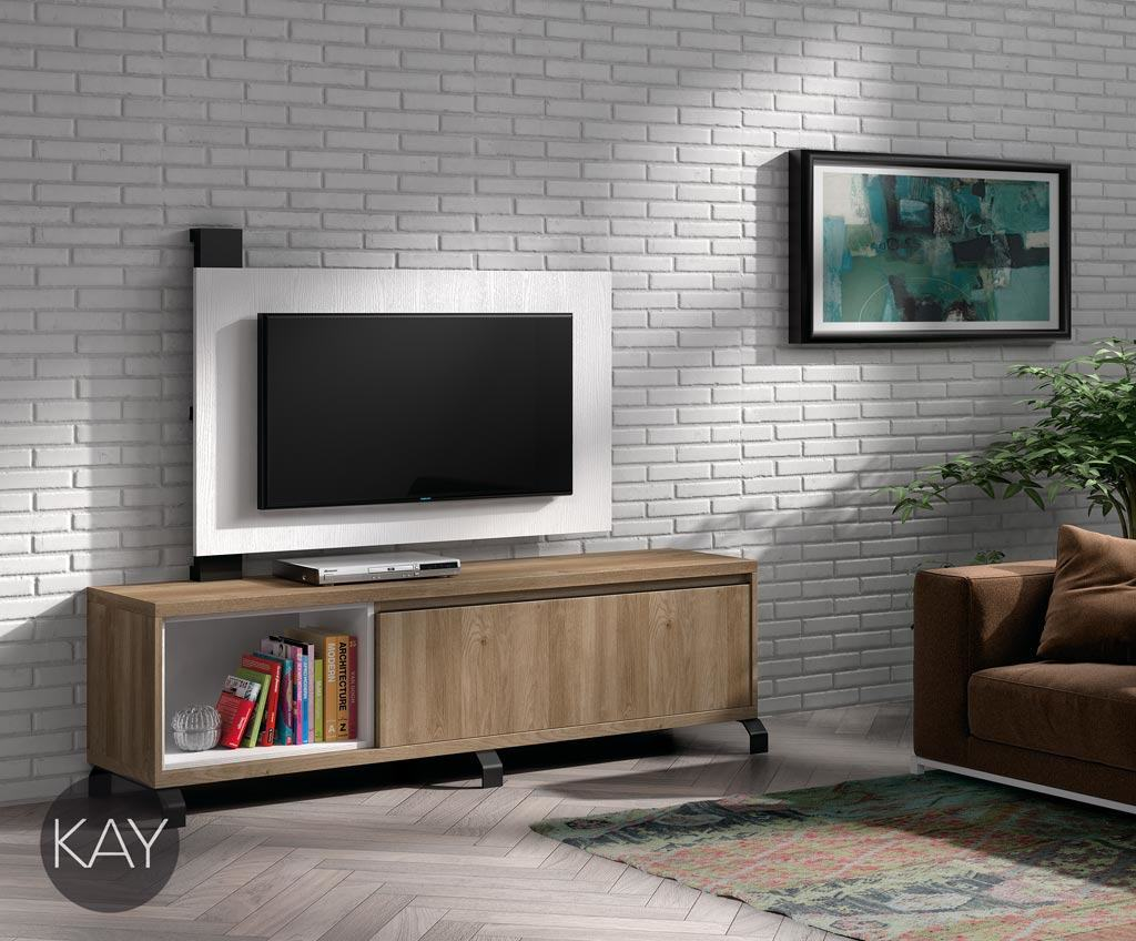 Mueble y panel TV combinados en color Acacia y Blanco