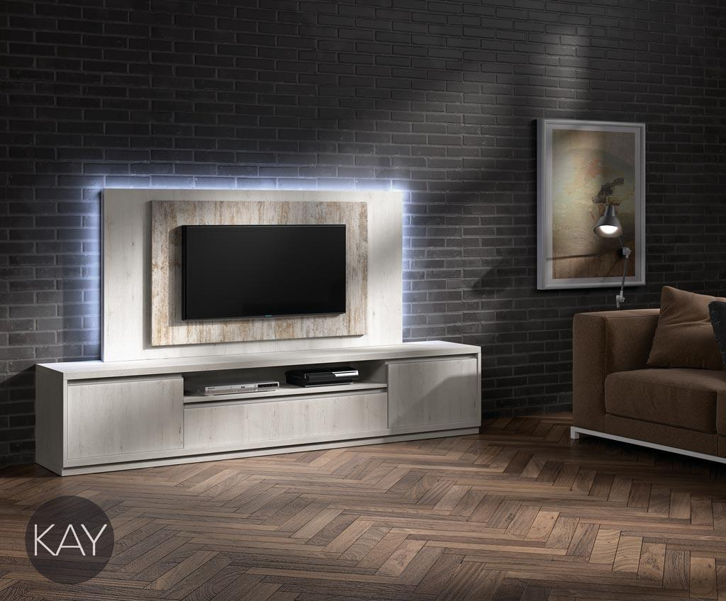Mueble TV con luz led en en marco del panel TV