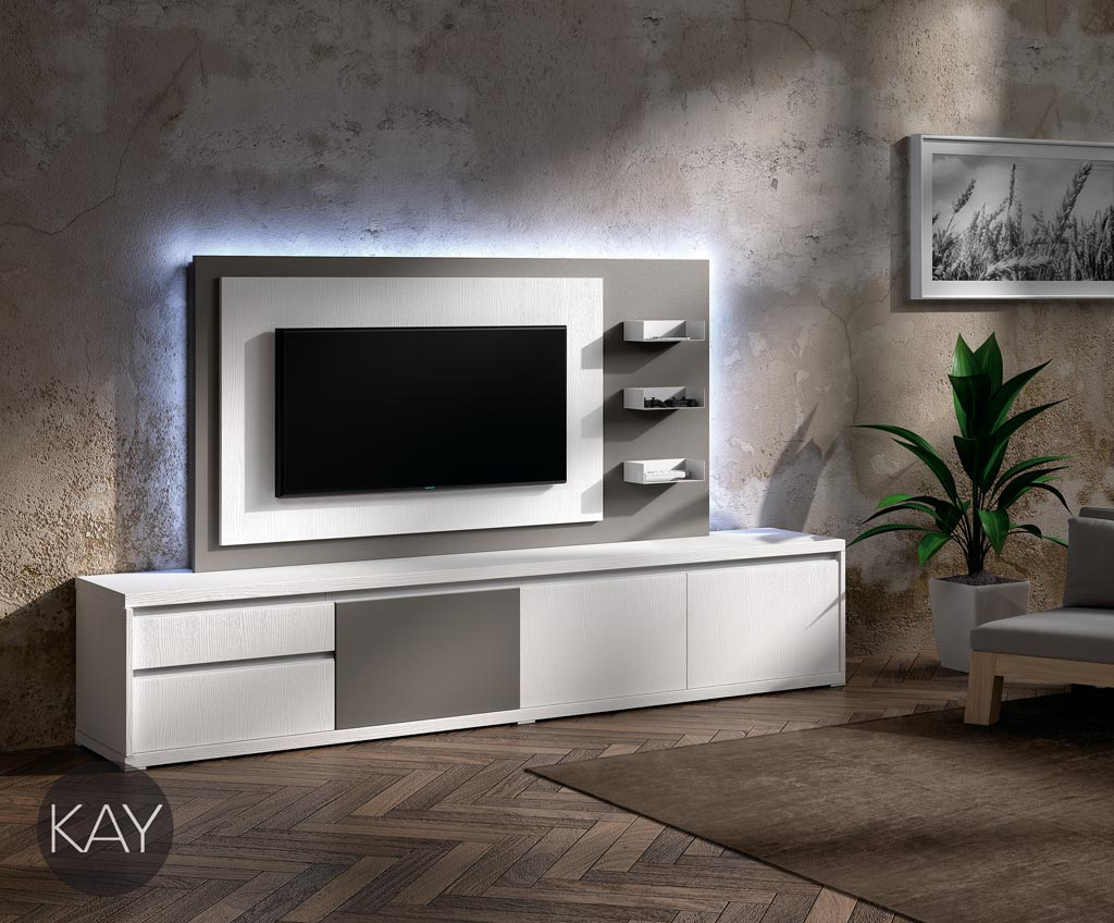 Mueble y panel tv combinados en color blanco y gris pardo for Mueble gris y blanco