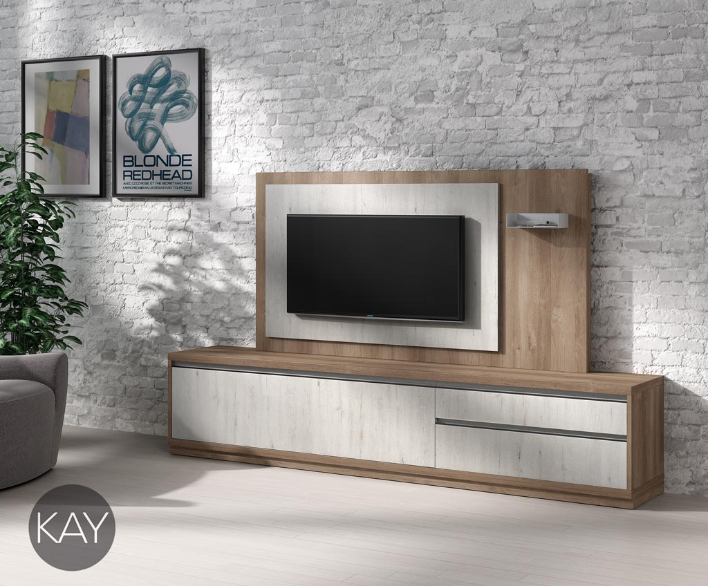 Es un mueble tv combinado en color fresno y color acacia for Muebles de television