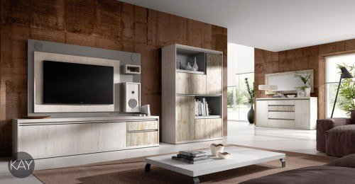 saln comedor con mueble y panel tv giratorio con sistema de audio incorporado - Muebles De Salon Modernos