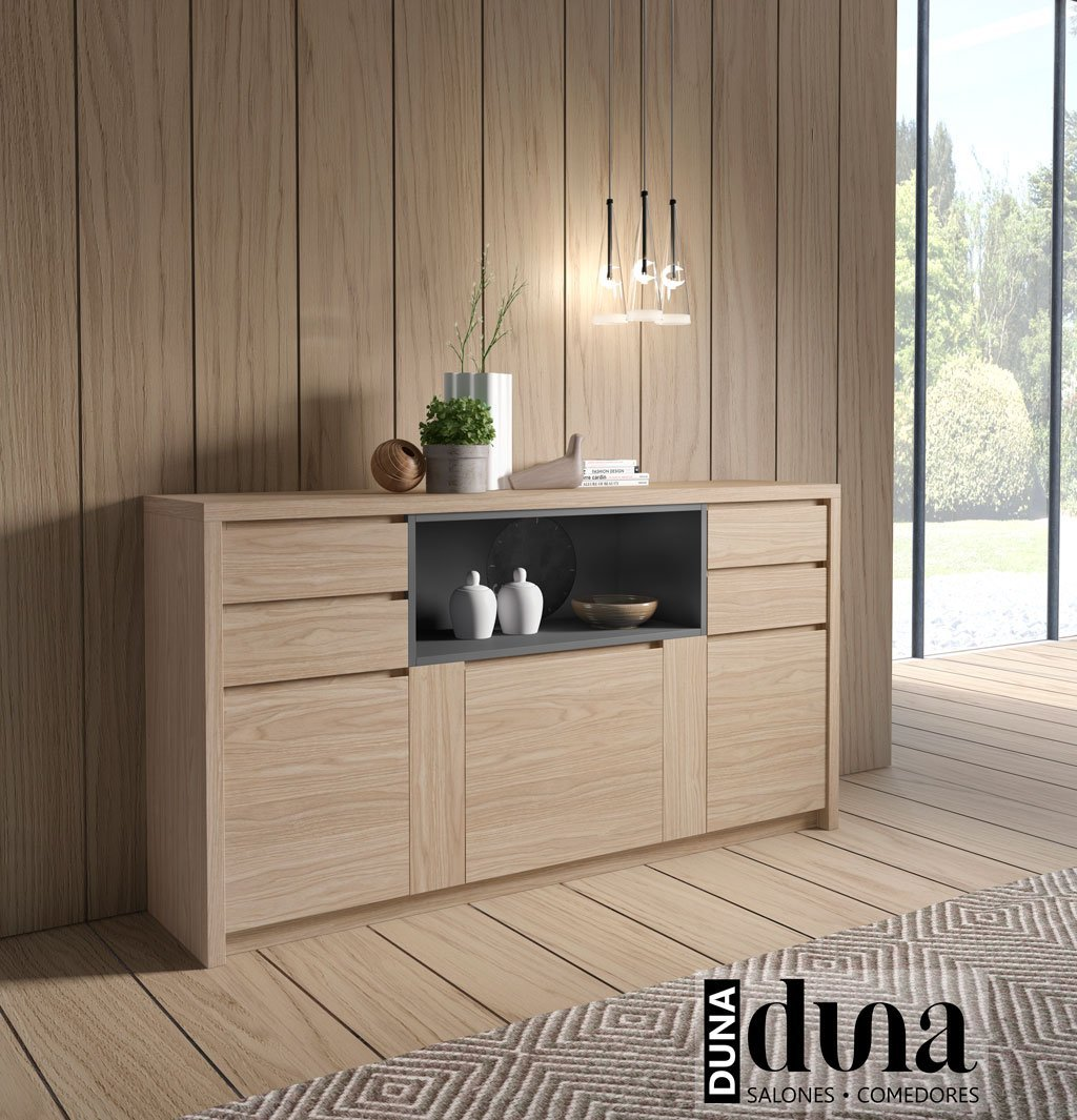 Mueble aparador DUNA en color Arce con módulo hueco color Antracita