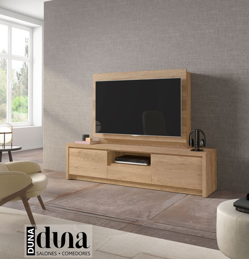 Mueble panel tv con una estanteria interior de gran utilidad for Mueble giratorio tv