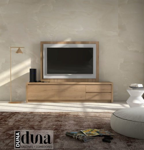 Combinación del color Roble Nudos del mueble con el color Gris Claro en el panel TV