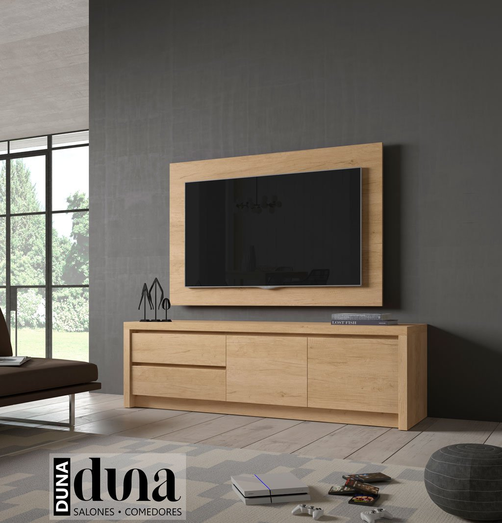 Mueble TV junto con un panel TV giratorio directamente a pared